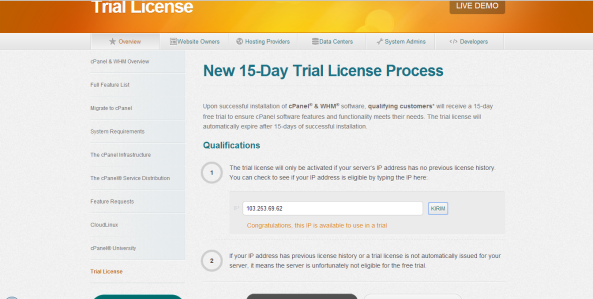 cpanel license free